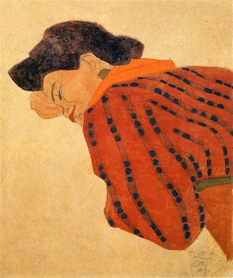 reclining women reclining woman with red blouse egon schiele wikiart