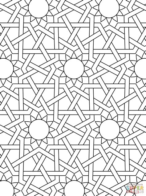 mosaic pattern to print islamic ornament mosaic coloring page art deco