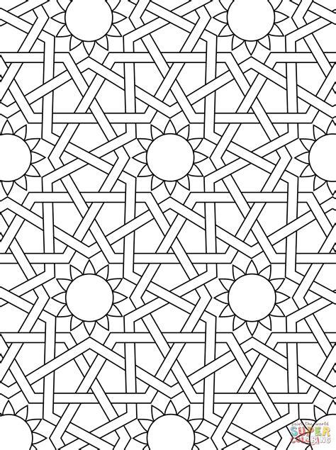 pattern là gì islamic ornament mosaic coloring page art deco