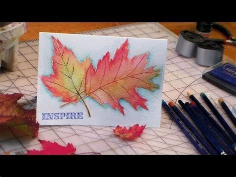 tutorial on using watercolor pencils inktense fall leaves youtube