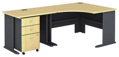Beech Corner Desk Bush Series A 3 Corner Computer Desk In Beech Transitional Desks And Hutches By Cymax
