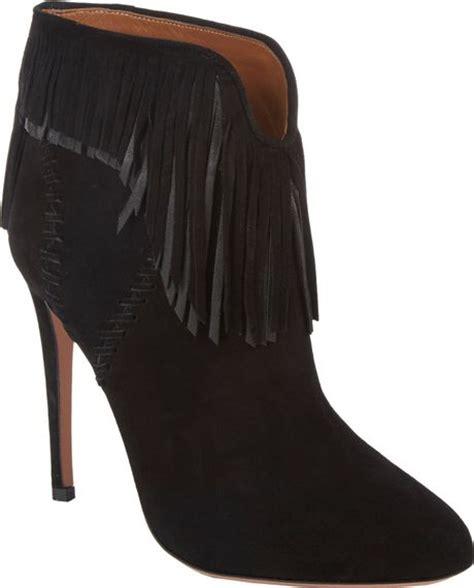black fringe ankle boots aquazzura fringe tina ankle boots in black lyst