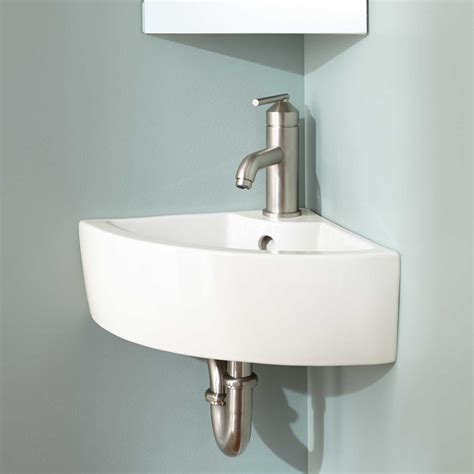 amelda porcelain wall mount corner bathroom sink wall