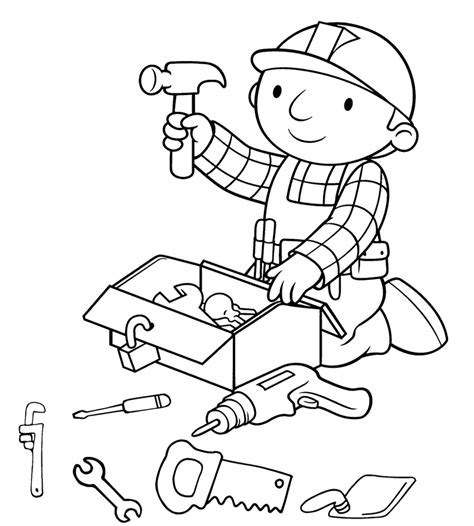 bob the builder preparing tools coloring page kids