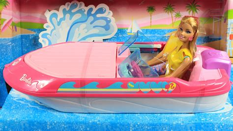 barbie boat video barbie glam boat with canopy and doll barbie motor 243 wka z