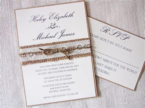Rustic Handmade Wedding Invitations - rustic wedding invitation burlap wedding invitation lace