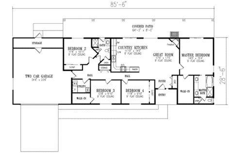 ranch style house plan 2 beds 1 baths 1800 sq ft plan 4 bedroom 2 bath ranch floor plans thefloors co