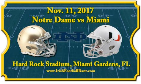 Notre Dame Part Time Mba Chicago by Notre Dame Fighting Vs Miami Hurricanes Football