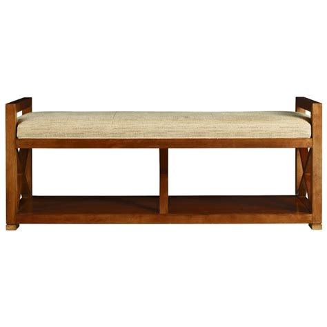 Bedroom Bench With Shelf by Bedroom Brown Wooden Bench With Arm And Shelf Using Beige