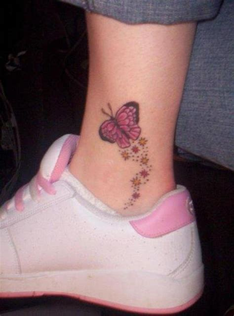 tattoo butterfly on ankle pink butterfly tattoo on ankle tattooshunt com