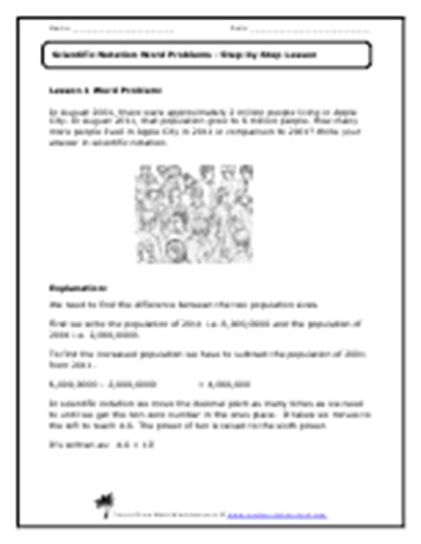 Word Problems Using Scientific Notation Worksheet by Scientific Notation Word Problems Worksheets