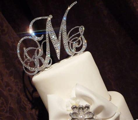 Swarovski Monogram Cake Topper - Glitzy Wedding Cake ... M Monogram Wedding Cake Toppers