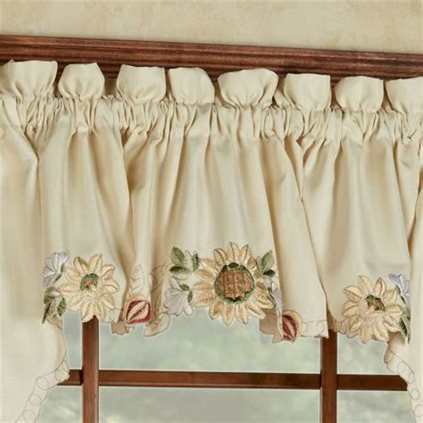 sunflower curtains window treatments sunflower valance curtains sunflower embroidered tier