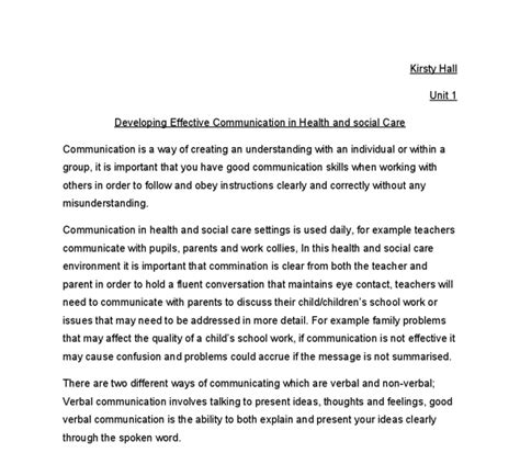 Health And Social Care Essays by Developing Effective Communication In Health And Social Care Gcse Health And Social Care