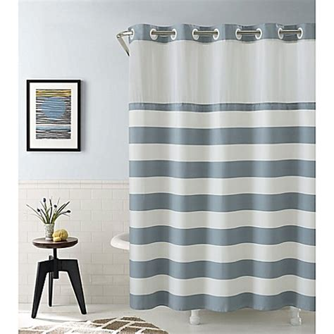 hookless coral reef  cabana stripe shower curtains