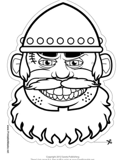 printable viking mask printable male viking mask to color mask