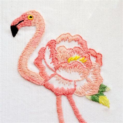 Flamingo Embro Shirt by Embroidery Pattern Modern Embroidery Patterns
