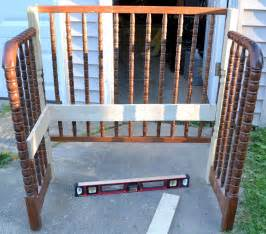 drop side crib turned bench this would be a great way to