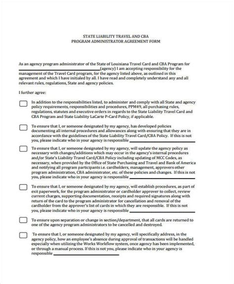 travel contract template 7 administration agreement form sles free sle