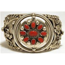 Ln C Kirana Bracelet Silver pawn navajo coral sterling silver spinner cuff