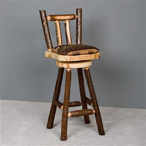 Hickory Bar Stools by Caldwell Brook Upholstered Hickory Bar Stool With Back