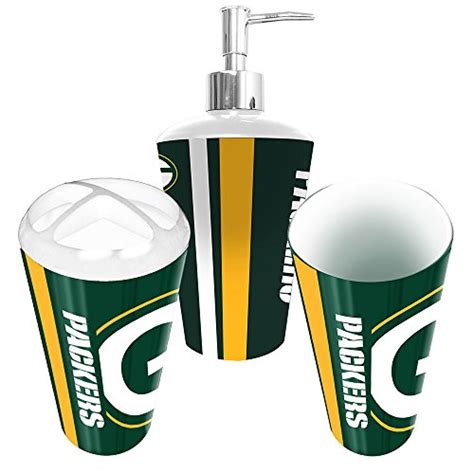 Green Bay Packers Bathroom Accessories Green Bay Packers 3 Bathroom Set Home Garden Accessories Toothbrush Holders