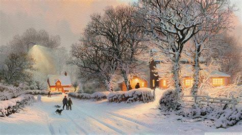 village  winter painting ultra hd desktop background
