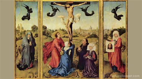 crucifixion triptych by rogier van der weyden ferrebeekeeper
