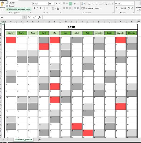 Calendrier Canadiens 2018 Calendrier 2018 Excel Modifiable Et Gratuit Excel Malin