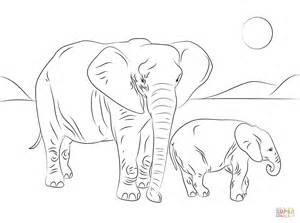 african elephant family coloring page free printable