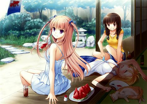 anime girl summer wallpaper download 3683x2629 anime girls summer watermelon dress