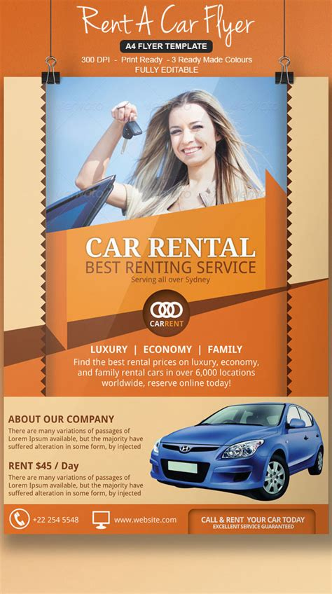 Rent A Car Flyer Template On Behance Sublet Advertisement Template