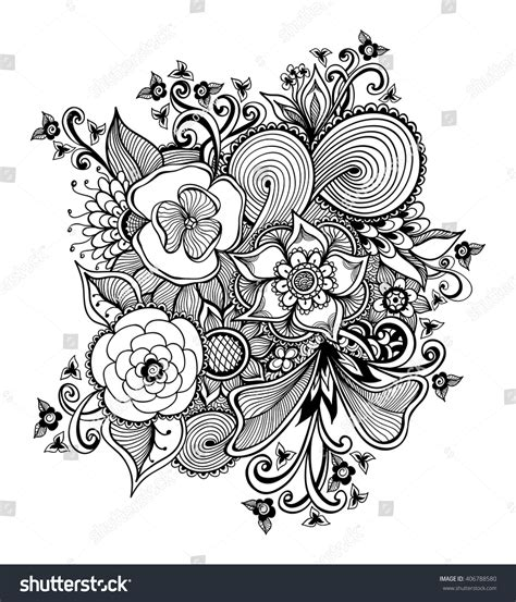 zen wedding bouquet zendoodle zentangle bouquet flowers black on stock vector