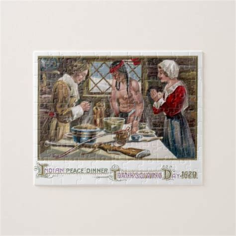 printable thanksgiving jigsaw puzzles the first thanksgiving jigsaw puzzles zazzle