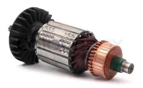 Electric Motor Coil by Copper Coils Inside Electric Motor On A White Background