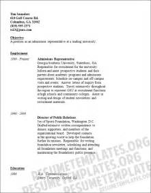 Admissions Representative Sle Resume by Resumes Template With Quotes Quotesgram