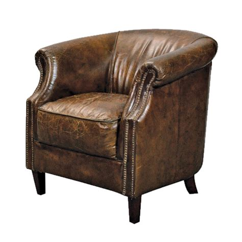 Brown Leather Armchair by Rourke Vintage Brown Leather Armchair