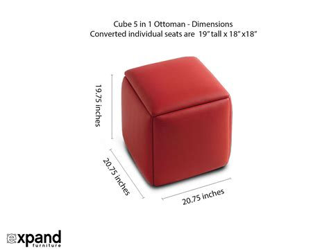 ottoman size cube 5 in 1 ottoman seat space saver expand furniture
