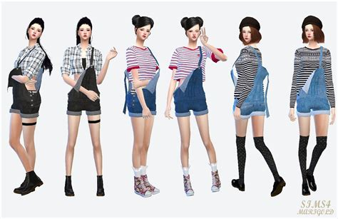 sims 4 overall shorts my sims 4 blog overalls accessory jacket for females and