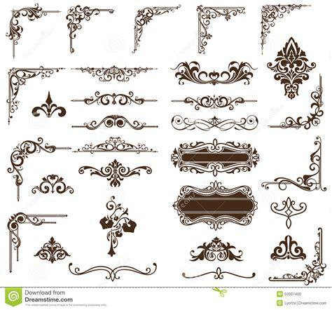 vector set vintage ornaments corners borders stock