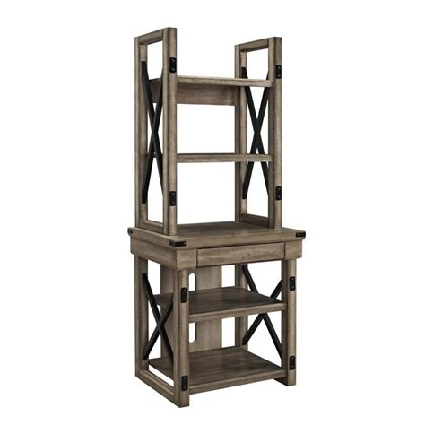 rustic audio pier bookcase with metal frame 1317096