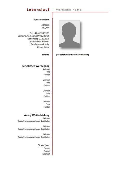 Lebenslauf Vorlage Schweiz by Lebenslauf Vorlage Schweiz Muster Und Vorlagen Kostenlos