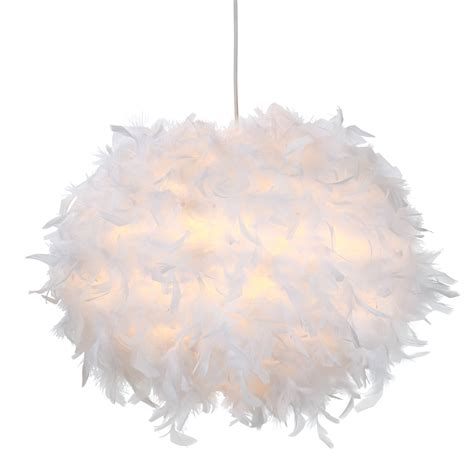 B Q Ceiling Light Shades Colours Melito White Feather Light Shade D 400mm Departments Diy At B Q