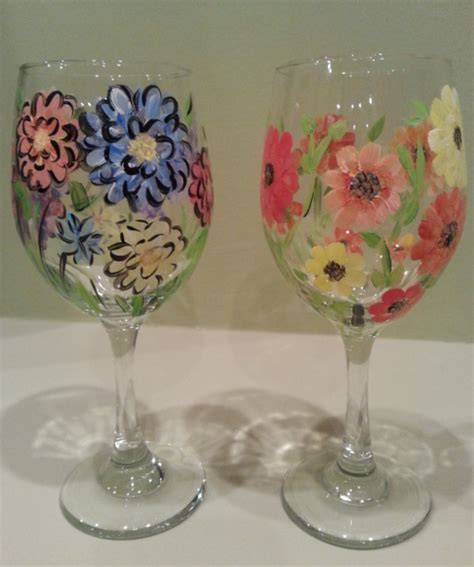 paint nite boston wine glasses wine glasses with flowers at treehouse vineyards