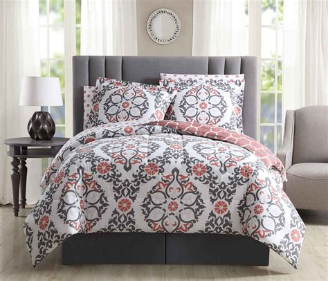 Coral And Grey Bedding Sets 8 Shakti Coral Gray White Reversible Bed In A Bag Set