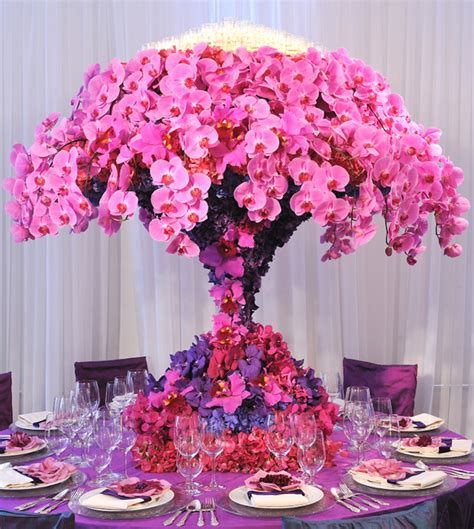 Preston Bailey Event Ideas Tall Pink And Purple Orchid Pink And Purple Centerpieces