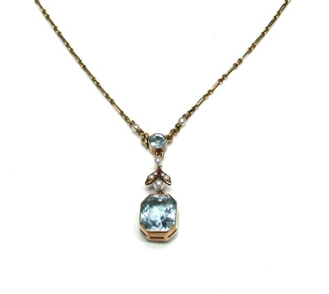 aquamarine seed pearl pendant necklace from