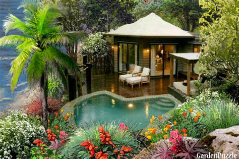 Private beach house. GardenPuzzle online garden