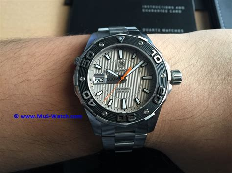 Tag Heuer Aquaracer 500m Silver White sold tag heuer aquaracer 500m quartz silver bracelet 43mm waj1111 ba0870 mus