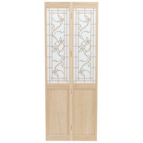 home depot wood doors interior pinecroft 30 in x 80 in glass panel tuscany wood universal reversible interior bi fold
